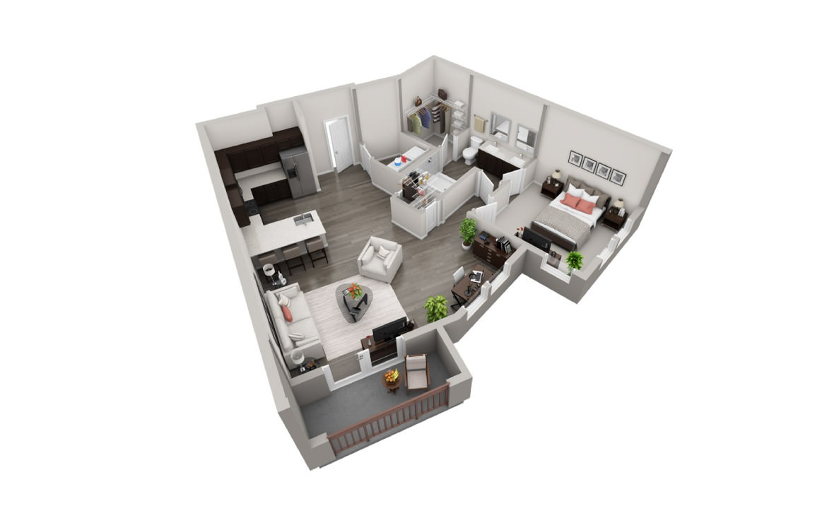 875 sq. ft. A6 floor plan