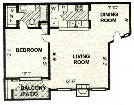 600 sq. ft. A2 PH C floor plan