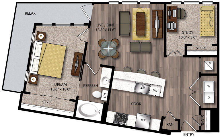 847 sq. ft. B10.1 floor plan