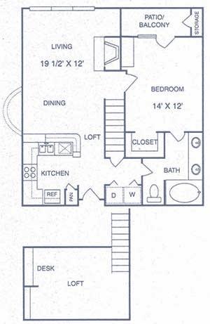 906 sq. ft. DP floor plan