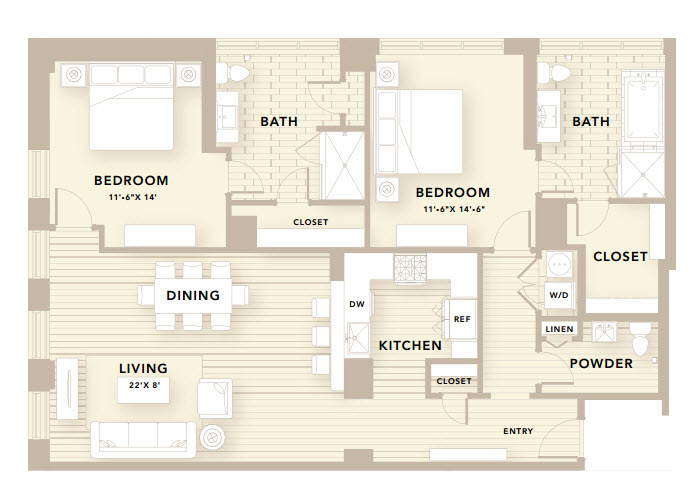 1,560 sq. ft. E1 floor plan