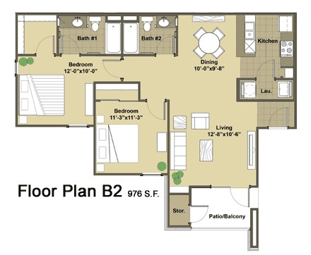 976 sq. ft. Oakland floor plan