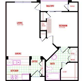 729 sq. ft. floor plan