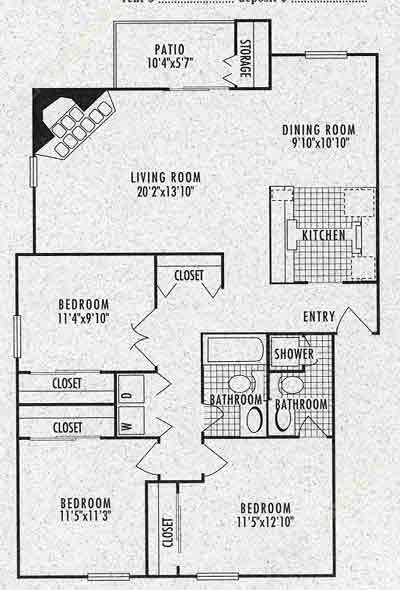 1,211 sq. ft. C1 floor plan