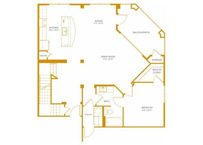 1,673 sq. ft. Town House floor plan