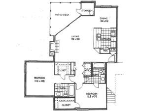 1,065 sq. ft. C floor plan