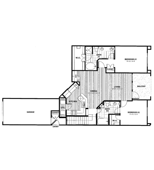 1,134 sq. ft. K2 floor plan