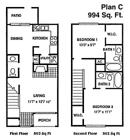 994 sq. ft. A floor plan