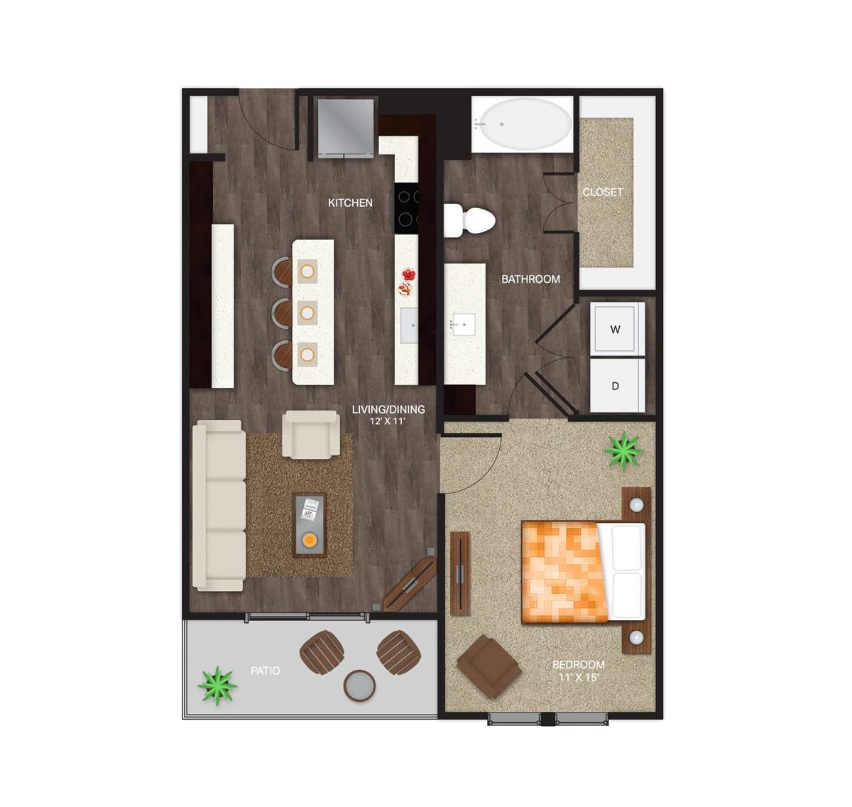 701 sq. ft. A1A floor plan