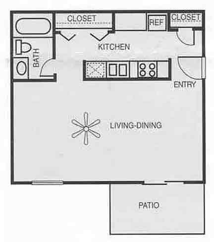525 sq. ft. E1/Walnut floor plan