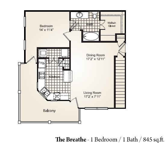 845 sq. ft. BREATHE floor plan