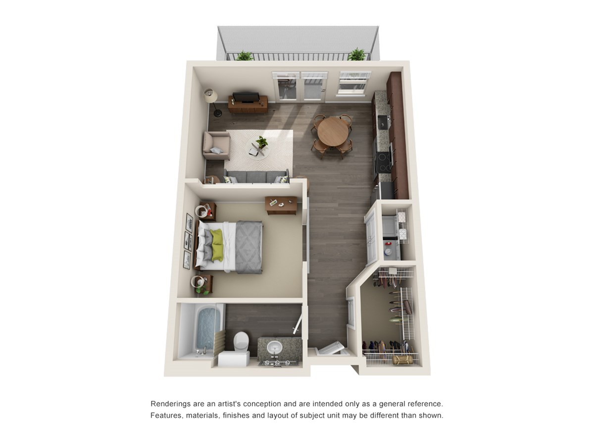 597 sq. ft. to 607 sq. ft. E1 floor plan