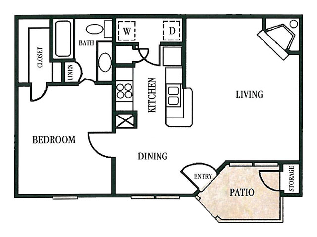 724 sq. ft. floor plan