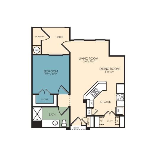 725 sq. ft. Telluride floor plan