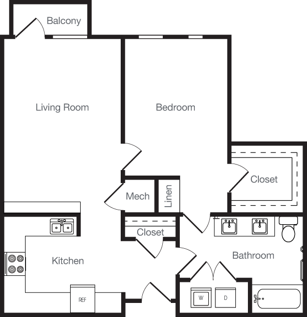 779 sq. ft. 1H floor plan