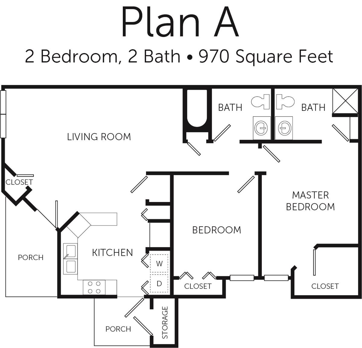970 sq. ft. 50% floor plan