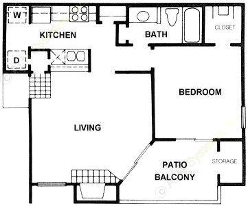 684 sq. ft. A6 floor plan