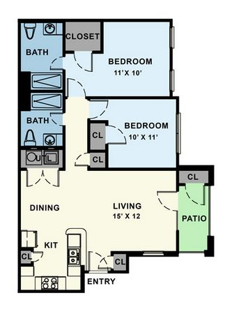 980 sq. ft. 60% floor plan