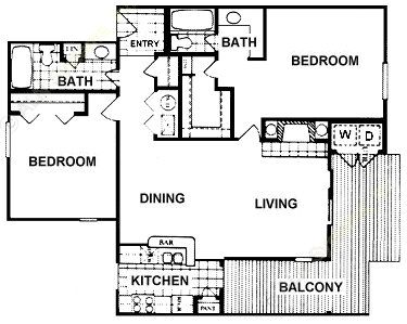 1,080 sq. ft. Bromley floor plan