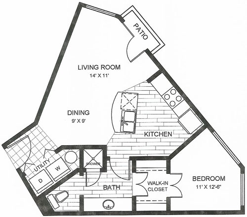633 sq. ft. Capitol floor plan