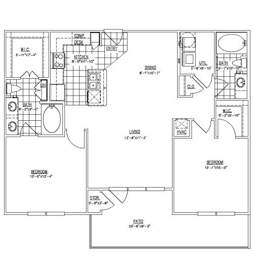 1,145 sq. ft. B1C floor plan