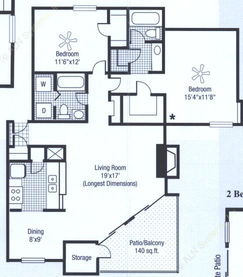 1,123 sq. ft. to 1,263 sq. ft. floor plan