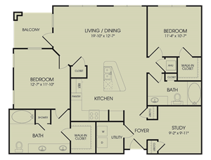 1,254 sq. ft. B4 floor plan