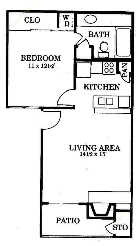 605 sq. ft. A2 floor plan