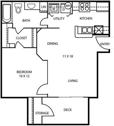 620 sq. ft. A1 floor plan
