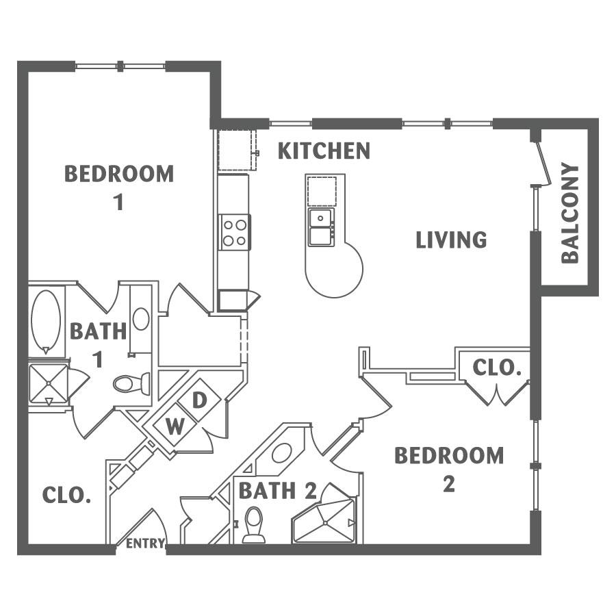 1,134 sq. ft. B5 floor plan