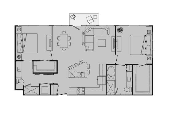 1,095 sq. ft. K floor plan