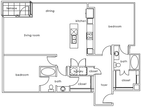 1,298 sq. ft. 1407 D floor plan