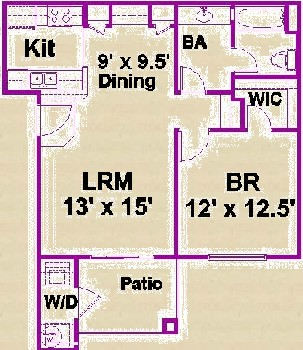 672 sq. ft. A/60 floor plan
