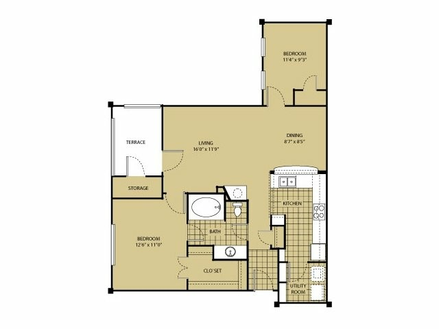 871 sq. ft. B0 floor plan