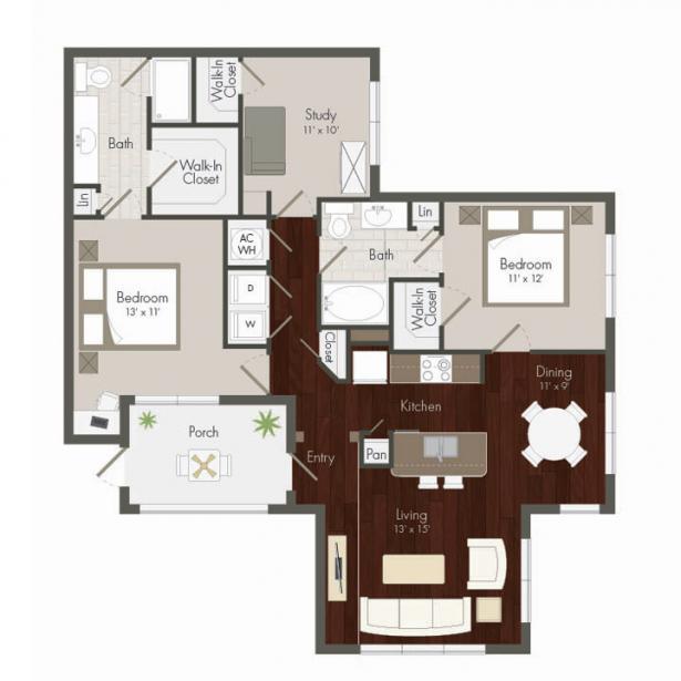 1,319 sq. ft. Clay floor plan