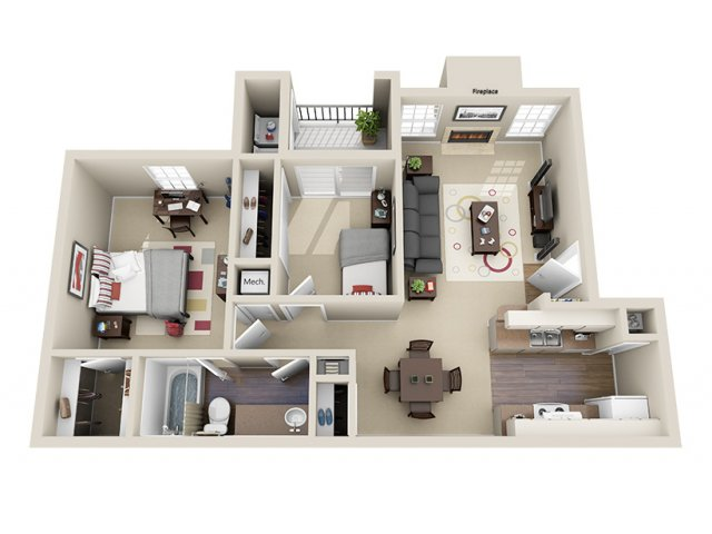763 sq. ft. C floor plan