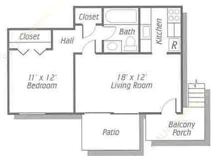 490 sq. ft. A floor plan