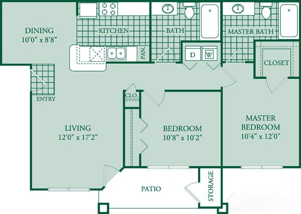 900 sq. ft. Verandah floor plan