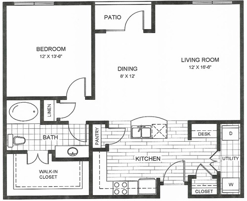 824 sq. ft. to 858 sq. ft. Austin floor plan