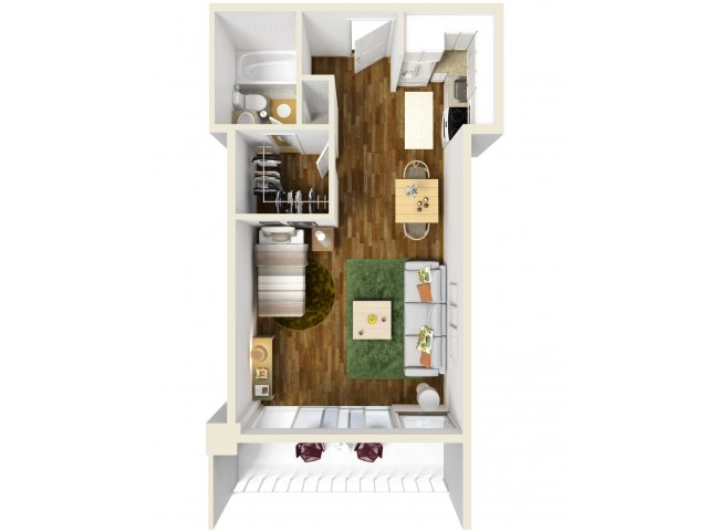 428 sq. ft. Efficiency floor plan