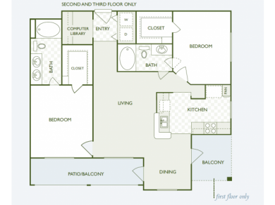 1,153 sq. ft. B7.2 floor plan