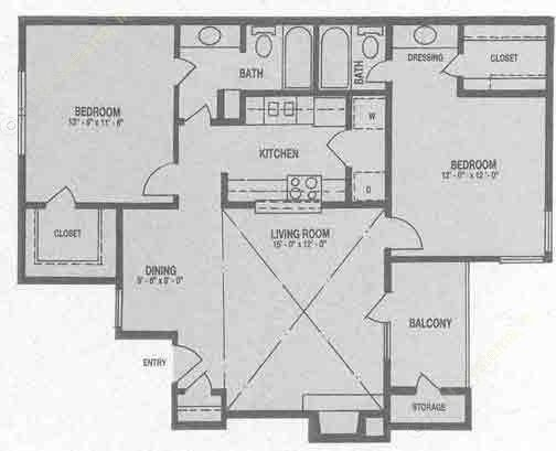 974 sq. ft. B1 floor plan