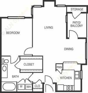 827 sq. ft. Minuet B floor plan
