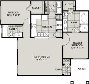 1,118 sq. ft. C2 floor plan