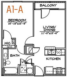 564 sq. ft. floor plan