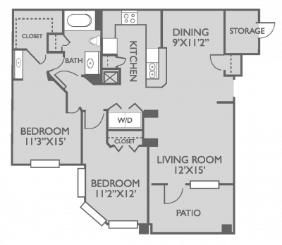 963 sq. ft. Dorchester floor plan