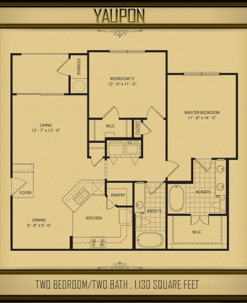1,130 sq. ft. YAUPON floor plan