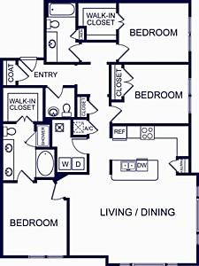 1,616 sq. ft. Valencia Three floor plan