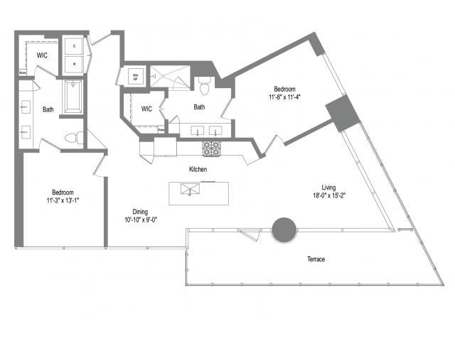 1,269 sq. ft. B6B floor plan