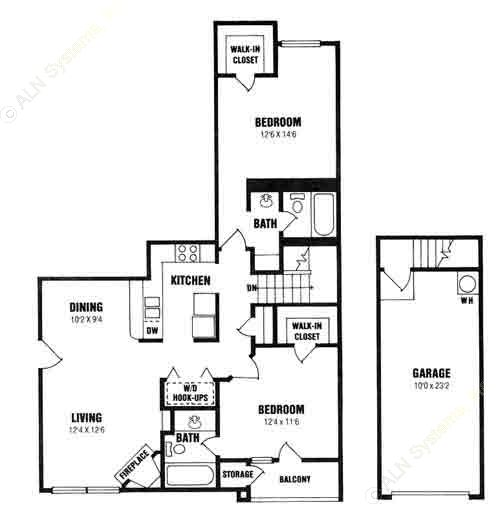 1,025 sq. ft. B3 floor plan